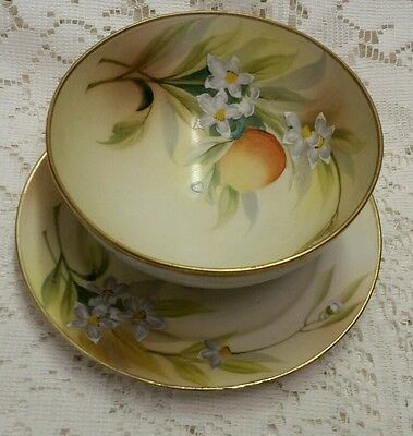 Nippon Hand painted Peach Flowers Footed Bowl with Matching Under Plate 2 pc Set