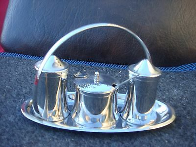Quality Stainless Steel Art Deco  Cruet Set By Old Hall England Top Maker