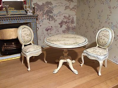 12th Scale Dollshouse Miniature Bespaq Table And 2 Chairs