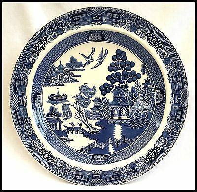 WEDGWOOD WILLOW PATTERN BLUE AND WHITE DINNER PLATE 25.2cm