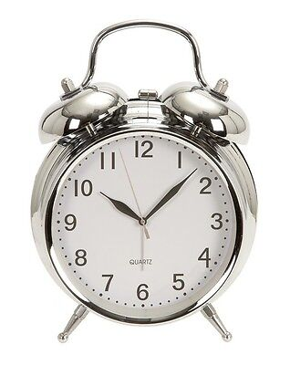 "Retro Double Bell Chrome Alarm Clock     6"" High By 5"" Wide"