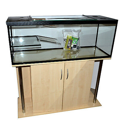 """Turtle/Terrapin tank with ramp ,platform ,hood 48""""x18"""" with Maple Cabinet"""