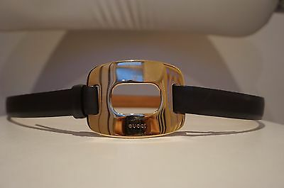 Auth GUCCI Genuine Leather Buckle Belt, Size S