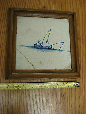 Antique 17th century ? FISHERMAN DUTCH Delft Tile in frame REPAIRED  S3