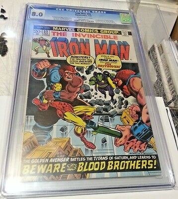 Iron Man 55 Cgc 8.0 1St Thanos & Drax Destroyer Vf Off-White Pages To White