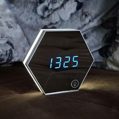 Smart LED Digital Display Alarm Clock Makeup Mirror Touch Night Light-White