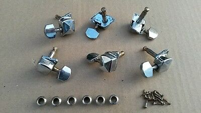 Set of 6 in a row Strat/ Tele type electric guitar Machine Head Tuners - Aged