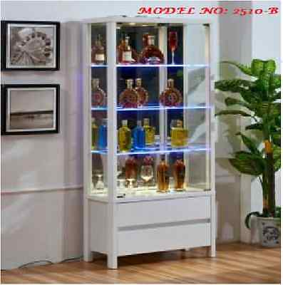 NEW MODERN Glass & wood Display Cabinet Show Case Storage wall Display Cabinet