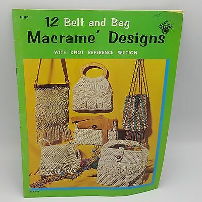 Macrame Designs Instruction Booklet 1971 12 Bags Belts Purses Knot 3012556
