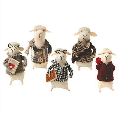 Felted Wool Sheep Animal Mascots in Clothes - Cute and Decorative  - Set of 5