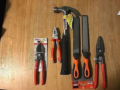 Estwing 20oz 2 X Nws Tin Snips, Nws Pliers 2x Bahco Files  Brand New