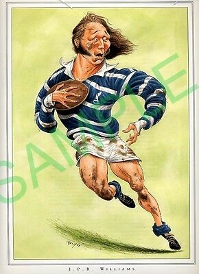 Framed picture JPR Williams by John Ireland, Rugby