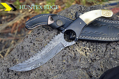 AUSSIE Hand Made Damascus Steel Hunting knife *** HOLE ***