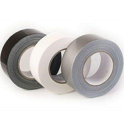 DUCK DUCT WATERPROOF CLOTH GAFFA GAFFER  TAPE BLACK/WHITE/SILVER48MM x 45M CHEAP