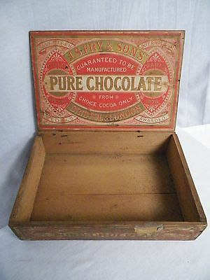 Old Vintage J.S. Fry & Sons Pure Chocolate Box Wood