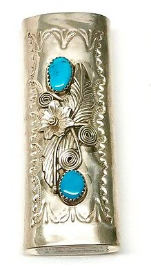 NATIVE AMERICAN NAVAJO INDIAN SILVER Turquoise Large lighter case