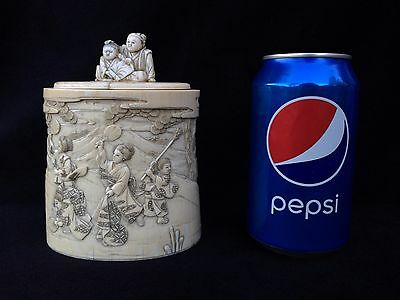 Musuem Quality Asian Meiji Japanese Carved Container / Box W/ Lid Japan Carving