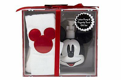 New Disney Mickey Mouse Gift Box Set Soap / Lotion Dispenser & Fingertip Towel