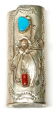NATIVE AMERICAN NAVAJO INDIAN SILVER Turquoise & Coral Large lighter case