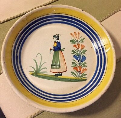 Old Henriot Quimper Deep Hand Painted Plate / Bowl