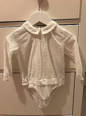 Zara Baby Girl White Top Shirt Blouse Size 6-9 Months