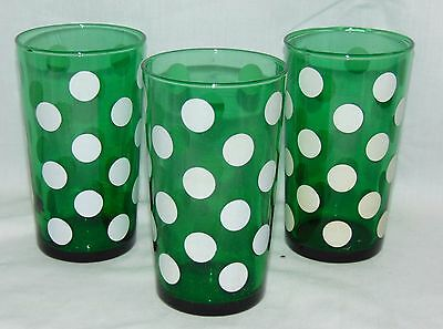 "3 Anchor Hocking FOREST GREEN w/WHITE DOTS *4 3/4"" WATER TUMBLERS*"