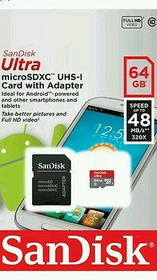 Sandisk Ultra 64GB 48MB/s UHS-I 533X Class 10 Micro SDHC SD T-Flash Memory Card