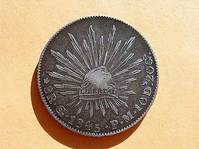 Mexico Silver 1845 Go Pm 8 Reales ~ Nice Old Bird!