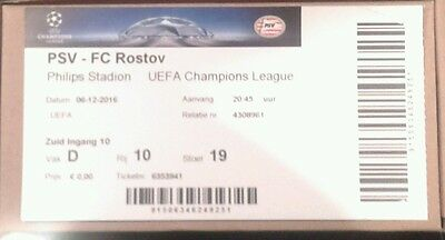 Ticket For Collectors: Psv Eindhoven - Fc Rostov Russia Champions League 16/17