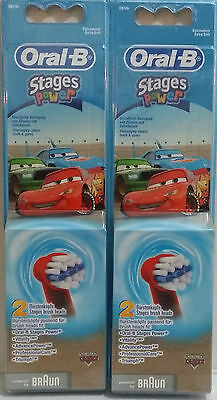 Oral-B Kids Disney Cars Stages Power Electric ToothBrush Refills Heads x 4 AUS