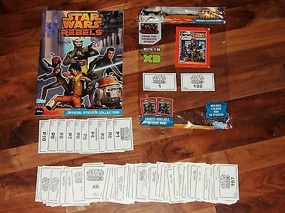 Star Wars Rebels Topps Complete- Empty Album, all 208 loose stickers & packet