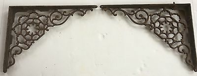 "Pair Of Cast Iron Filigree Corner Shelf Support Brackets 9 X 11 1/2""  Euc"