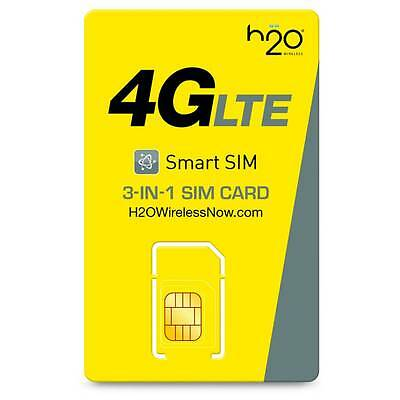 H2O Sim card Free First Month of $30 included Prefunded Preloaded 3GB 4G LTE
