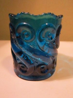 Vintage L G Wright Repeating Scrolls Toothpick Matchstick Holder Blue
