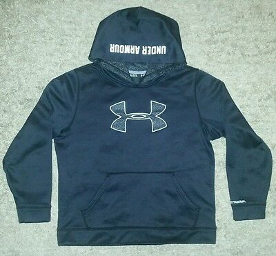 Under Armour STORM Stitched Logo Hoodie Sweatshirt (Youth Large) Black