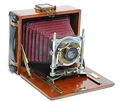 Vintage wooden plate folding camera no name red bellows  11 x 7,5 cm