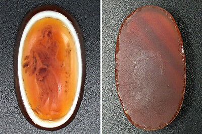 Ancient RED GOAT EYE Agate Intaglio Angel Stone Hand Carved Ring Top RARE!!#4320