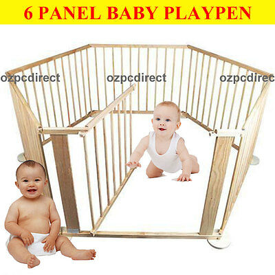 AU Ship New Wood Wooden Baby Kids Toddler Playpen Divider Safety Gate 6 Panels