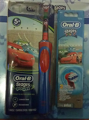 Braun Oral-B Kids Power Electric Rechargable Toothbrush Disney CARS +3 Heads