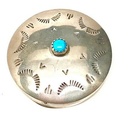 Navajo Handmade Sterling Silver & Turquoise Pill Box