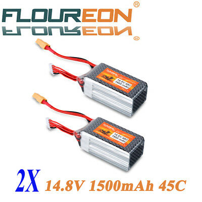 2X 1500mAh 14.8V 4S 45C Lipo RC Battery Pack XT60 for RC Helicopter RC Hobby Car