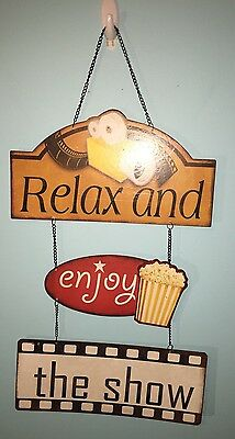 relax and enjoy the show metal sign �� Popcorn and Film.