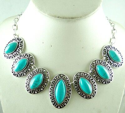 Women Tibetan Silver Turquoise Pendant Necklace Fashion Jewelry AG-3