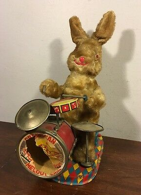 Vintage Cragstan Melody Band Peter The Jolly Drummer Bunny Japan Tin Toy Alps