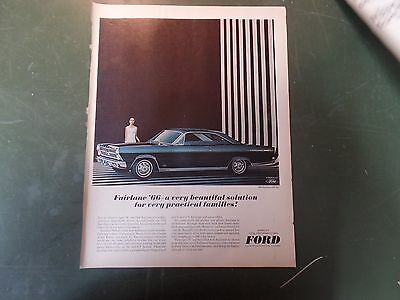 1965 - Ford Fairlane Ad - Vintage Print Advertising - Ford - 1966 hardtop