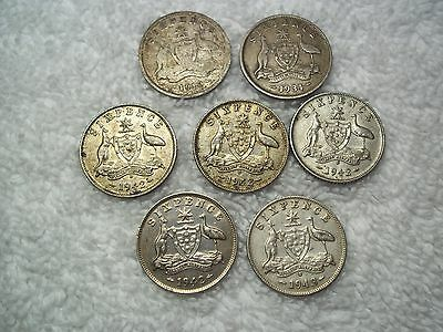 1910 - 1943 Australia 6 Pence  Old World Silver coins 7--shown