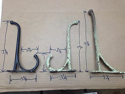 "3 Antique/Vintage Cast Iron Coat/Hat/Tack/Barn Hooks Primitive 7"" to 9"" Long"