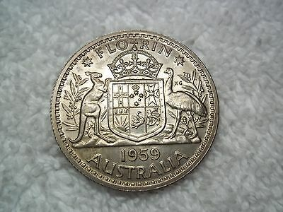 1959 Australia 1 Florin nice coin AU+  Old World Silver coin 1 --shown