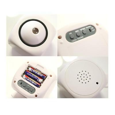 Digital Alarm Clock LCD Voice Talking LED Projection Temperature Home White