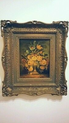 Vintage Painting on Canvas*Ornate Framed*Dated*Signed*Florals 18x16